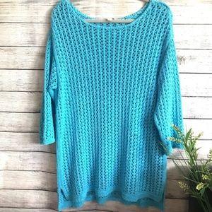 J. JILL | Open Knit Cotton Blend Oversized Sweater